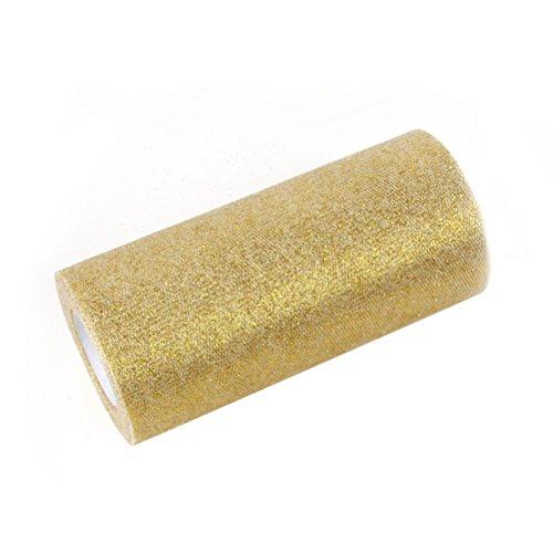 (ROSENICE Ribbon Roll Glitter Tulle Rolls 6 Inch Sparkling Tulle 25 Yards Tulle Spool Gold)