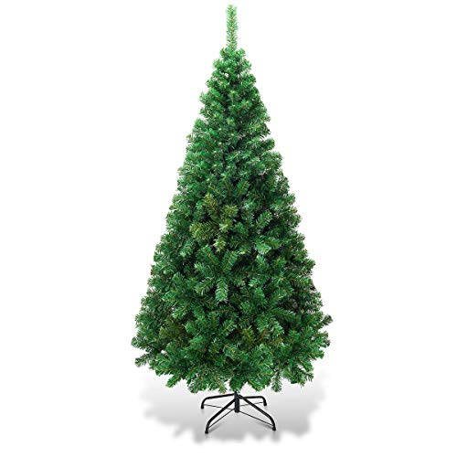 Goplus Artificial Christmas Tree Xmas Pine Tree with Solid Metal Legs Perfect for Indoor and Outdoor Holiday Decoration (Green, 5 FT) (Trees Christmas)