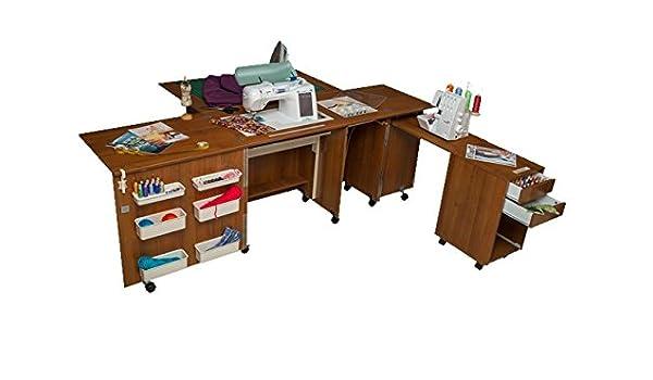 Comfort 4 | Muebles para máquinas de coser y overlock | (Brown Cassino Ash, L (Air-Lifter to 15kg)): Amazon.es: Hogar