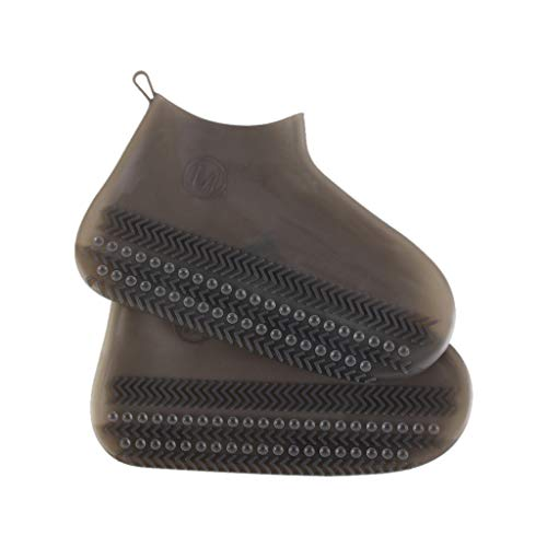 (YLCOYO M Size Reusable Rain Gear Boots Snow Shoe Covers Waterproof Shoes Overshoes (New with Anti-slip Suction Cup) (Brown))
