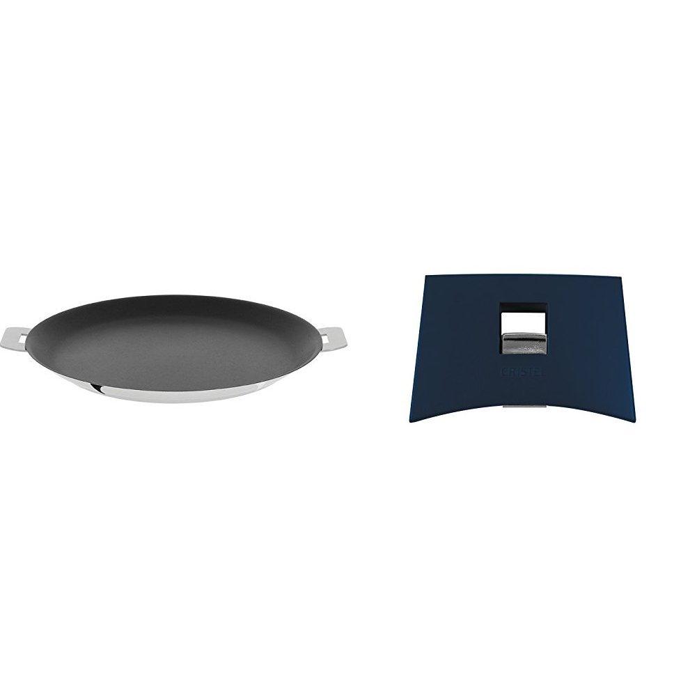 Cristel CR30QE Non-Stick Crepe Pan, Silver, 12'' with Cristel Mutine Plmaeb Side Handle, Blue Ink