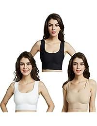 Sleep Bras,Seamless Comfortable Yoga Bra,Everyday Bra with Removable Pads, A to