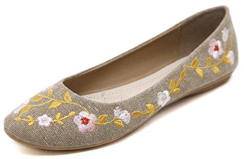 Idifu Vrouwen Vintage Geborduurde Bloemen Ronde Neus Lage Top Stof Slip Op Ballet Flats Schoenen Abrikoos