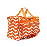Snowflake Designs Orange and White Chevron Duffel Bag