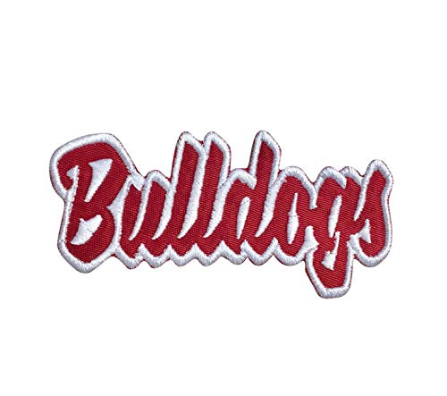 Bulldogs - Red/White - Team Mascot - Words/Names - Iron on Applique/Embroidered Patch