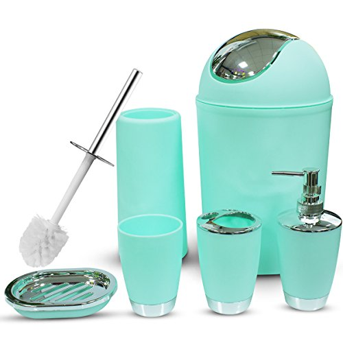 Dergixee Bathroom Accessories Set, 6 Piece Plastic Bathroom Accessory Set, Trash Can, Lotion Dispenser, Soap Bar Holder, Toothbrush Holder, Rince Cups, Toilet Brush Set-Mint Green