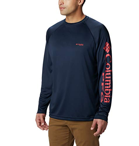 Columbia Men's PFG Terminal Tackle Long Sleeve Tee , Collegiate Navy/Sunset Red, Medium from Columbia