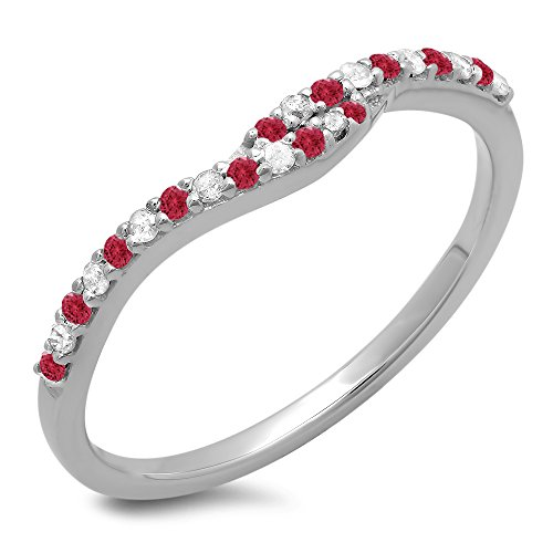 Dazzlingrock Collection 14K White Gold Round Cut Ruby & White Diamond Ladies Anniversary Wedding Band Guard Ring (Size 7) -