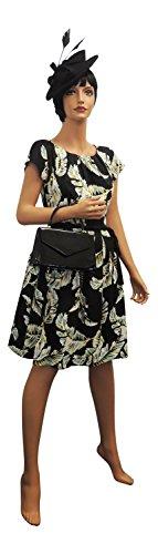 Les 36 Art noir 30 1930's VINTAGE rtro Nouveau robe Floral 1940's annes ou NEUF jaune annes Noir annes UK8 EU WW2 H0xwq1