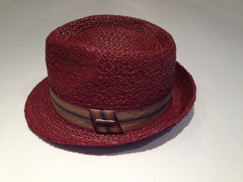 Genuine New Tag - Stetson Genuine Raffia Taft5 Straw Hat Color Burgundy Men's Size Large Brand New with Tag