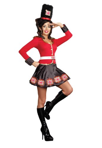 Dreamgirl De-Lightfully British Costume, Red/Black, (British Costumes For Women)