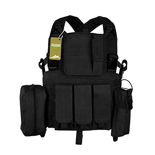 Tactical Vest Chest Rig Black/Tan Airsoft Molle Tactical Chest Vest Ultra-light Breathable Combat Training Law Enforcement Vest Rapid Assault Modular Vest (Black)