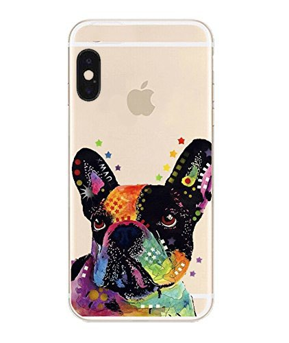 DECO FAIRY Compatible with iPhone X / Xs, Cartoon Anime Animated Black Frenchie Dog Art Painting Splash Gothic Look Series Transparent Translucent Flexible Silicone Cover Case