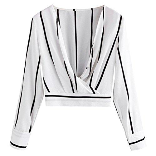 Toimoth Women Stripes Blouse Long Sleeve V-Neck Shirt Causal Chiffon Tops Coat(White,L)