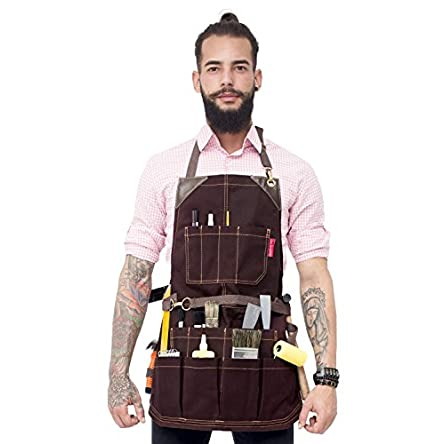 Under NY Sky Tool Brown Apron – Heavy-Duty Waxed...
