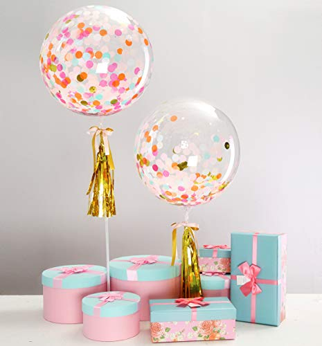 Bubble Tassel - Eanjia Color Unicorn Confetti Balloon Set of 2, 20th,30th Happy Birthday Party Decoration with Yellow Tassel Bowknot DIY Kit Bubble Balloon No Need Helium (Muiltcolor)