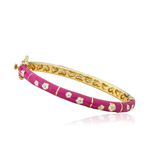 Little Miss Twin Stars Outfit Makers 14k Gold-Plated Hot Pink Bangle With White Double Flowers And Gold Lines