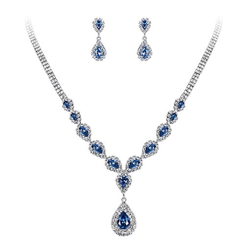 BriLove Wedding Bridal Necklace Earrings Jewelry Set for Women CZ Crystal Teardrop Infinity Y-Necklace Dangle Earrings Set Light Sapphire Color Silver-Tone