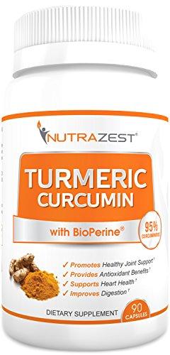 Premium Organic Turmeric Curcumin - 500mg Turmeric Curcumin (95%) with BioPerine Black Pepper Extract for Inflammation Joints Pain Relief Digestive & CV Health Anti-Aging Benefits – 90 Capsules