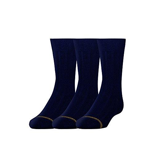 Gold Toe Boys' Wide Rib Dress Crew, 3-Pair, Navy, Small ()