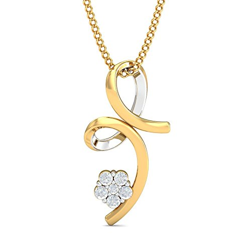 KuberBox 18KT Two Colour Gold and Diamond Pendant for Women