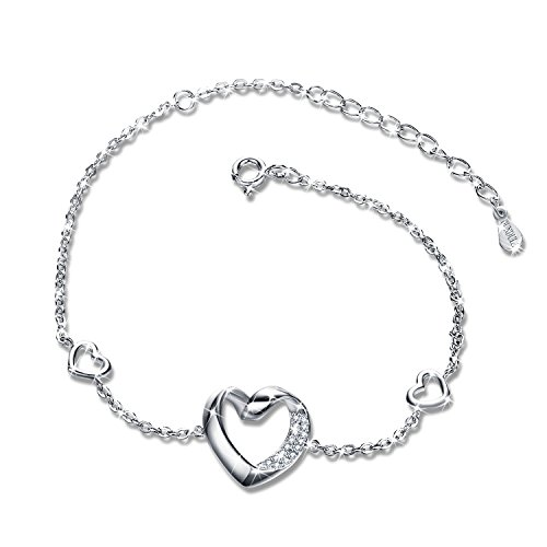 GUNDULA Christmas Jewelry Gifts Packing Women Sterling Silver Adjustable Link Chain Heart Shaped Tennis Bracelets for Girls