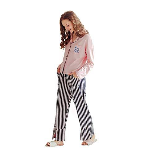 Pink Largo Dormir Manga V Pijama De Mujer Moda El Primavera cuello Con Pantalones Conjunto Para Fashion Botonadura Hogar Elegantes Rayas Ropa Bolsillos Otoño FIqXwxB