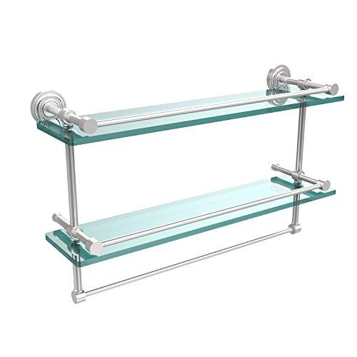 Allied Brass DT-2TB/22-GAL-SCH Dottingham 22 Inch Gallery Double Glass Shelf with Towel Bar Satin Chrome
