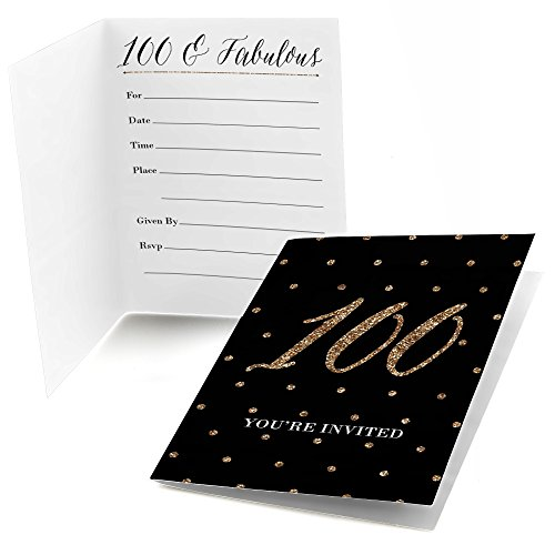Big Dot of Happiness Chic 100th Birthday - Black and Gold - Fill in Birthday Party Invitations (8 Count)