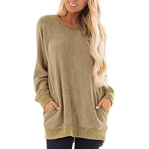 (CSSD Womens Round Neck Sweatshirt, Ladies' Casual Color Block Long Sleeve Pocket T Shirts Solid Color Blouses Loose Sweatshirts Tops (S, Khaki))