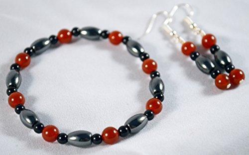 Hematite Onyx Earrings (Carnelian, Hematite and Black Onyx Gemstone Stretch Bracelet and Earring Set)