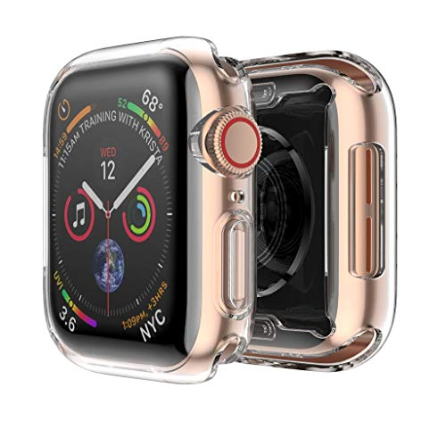 Compatible with Apple Watch Case 40mm 44mm (2 Pack), Tuscom Soft TPU All Around Clear Screen Protector Cover Shockproof Bumper Case Protective Screen Protector for iWatch Series 4 40mm 44mm (40mm) ()
