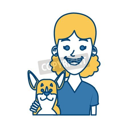 adrium Girl with dog dibujos animados Icon Vector Ilustración ...