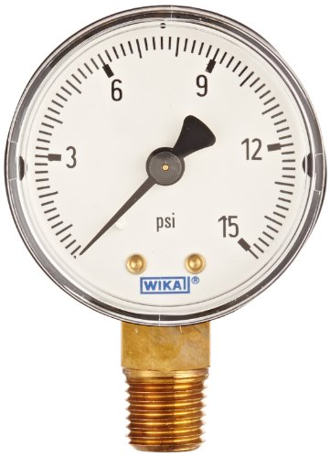 wika-4252919-commercial-pressure-gauge-dry-filled-copper-alloy-wetted-parts-2-dial-0-15-psi-range-3-