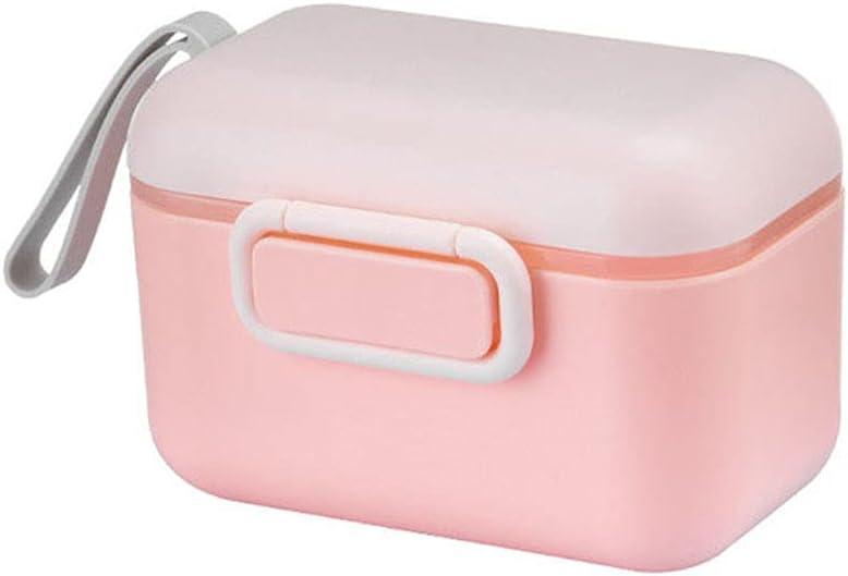 MAONIN Baby Milk Powder Container, Outdoor Durable Food Storage Box Portable Snacks Organizer Silicone Box(400ML,Pink)