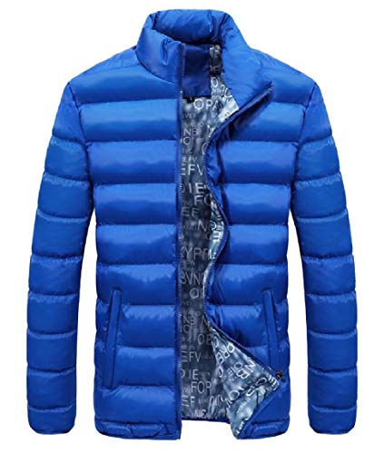 Mogogo Sleeve Thick Long Down Pockets Size Blue Zip Collar Stand Men's Plus Jackets Sky rqawrz