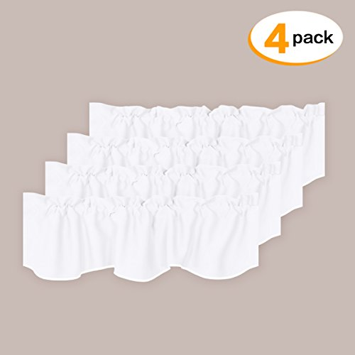 H.VERSAILTEX Privacy Protection Kitchen Valances for Windows Room Darkening Curtain Valances for Bedroom, Rod Pocket Top, 4 Pack, Pure White, 52 x 18 Inch 4pk White