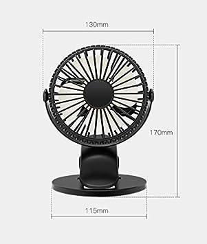 Mini Ventilador USB Silencioso Negro Hogar Cochecito de Beb/é Viajar Vegena Ventilador USB Portatil Recargable Ventilador Clip 3 Modo de Velocidad 360/° Ajustable para la Oficina Acampar