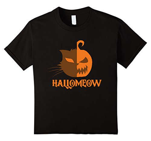 Cat Eyes For Halloween Costume (Kids Hallomeow Cat Pumpkin Eyes Halloween Costume T-Shirt 10 Black)