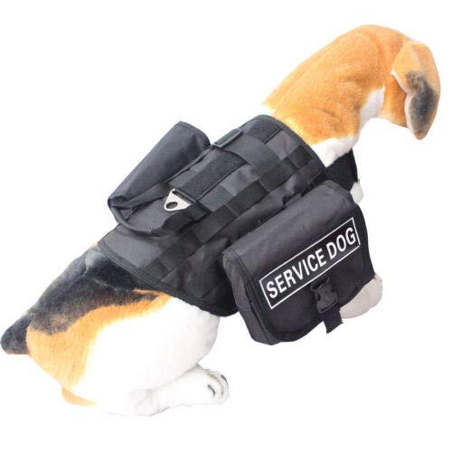 FidgetGear SERVICE DOG VEST HARNESS Working Dog Harness + 2 Pouches + 2 label Patches Black M Fits GIRTH 16  22