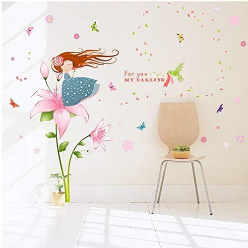 (Wangkunpeng Beautiful Pink Flower Butterfly Little Girl Blowing Petals Cartoon Wall Stickers Kids Room Girl Bedroom Living Room Decor Decals)