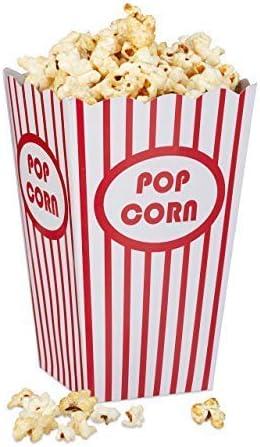 Relaxdays Set de 48 Cajas Palomitas, Popcorn Box, Cubo Rayas, Estilo Retro EE.UU, Cartón, 16 x 12 x 10 cm, Rojo-Blanco: Amazon.es: Hogar