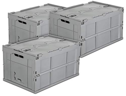 Mount-It! Folding Plastic Storage Crate, PACK OF