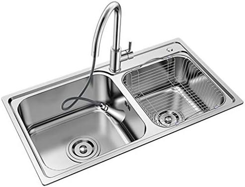 流し台シンク ステンレスバニティ盆地/スクエアダブルボウル野菜やルームシンクダイニングフルーツ洗濯テーブル/キッチン (Color : Pull out faucet, Size : 81*45*20.5 cm)
