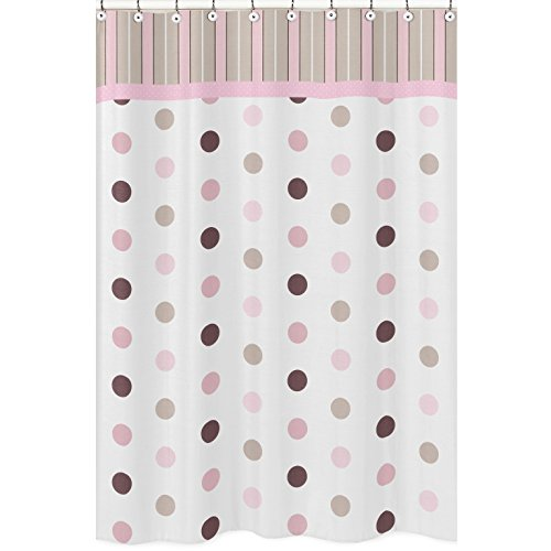 Sweet Jojo Designs Pink and Brown Mod Dots Kids Bathroom Fabric Bath Shower Curtain