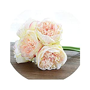 be-my-guest 5 Heads Artificial Flowers Peony Bouquet Silk Peony Flowers Bridal Bouquet Fall Vivid Artificial Flowers for Wedding Home Decoration,Champagne 78