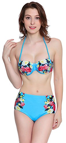 Halter High Waisted Push up Bikini Padded Swimwear Swimsuit With Floral Print, Blue Avenue Print Bikini