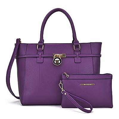 Large Top Handle Satchel Women Handbag Ladies Shoulder Bag Purse Set Faux Leather