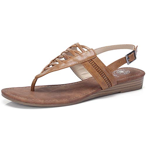 (CAMEL CROWN Women's T-Straps Sandals Thong Sandals with Low Wedge Casual Flat Sandals with Slingback Comfortable Shoes )
