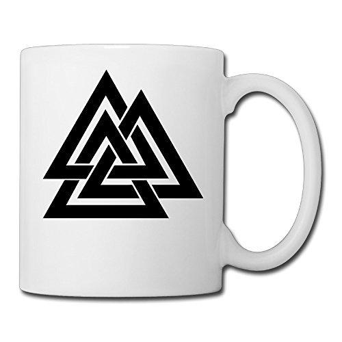 Price comparison product image Christina Valhalla Valknut Symbol Triquetra Logo Ceramic Coffee Mug Tea Cup White